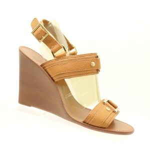 TORY BURCH Tan Leather Ankle Strap Wedge Sandals